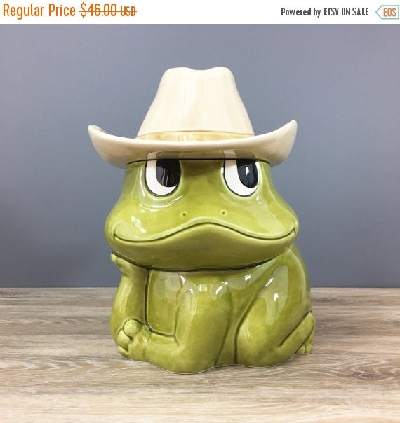 ON SALE Vintage Sears Roebuck Cookie Jar, Neil the Frog 1981 Retro Kitchen Decor, Happy Frog Cowboy Hat Storage Jar