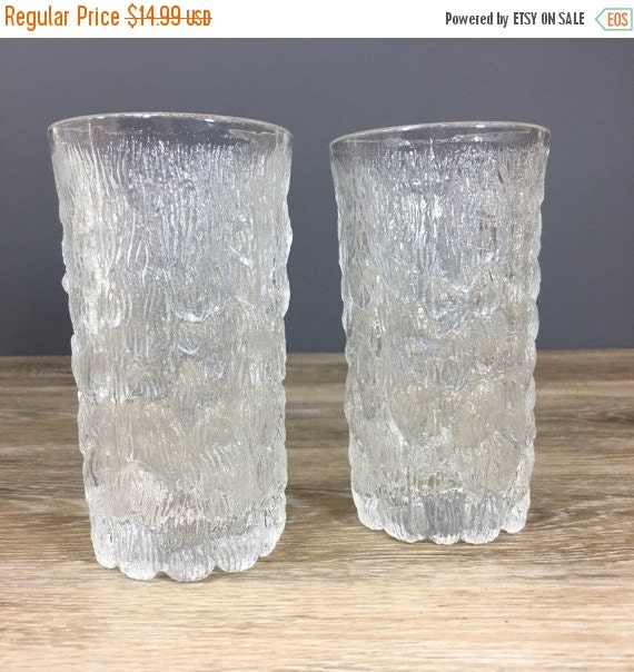 "ON SALE Goebel Germany Bark Glass Tumblers, PAIR, Mid Century Vintage Iittala Style Glass, 4"" Tall Thick Glass Heavy Textured Retro Barware"