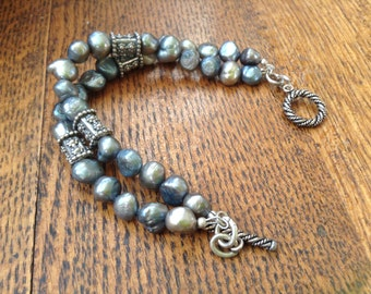 Handcrafted Sterling and Blue Pearl Bracelet