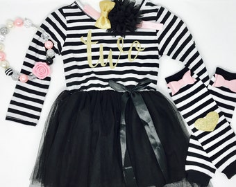 Second Birthday Outfit |  2nd Birthday Shirt | 2nd Birthday Dress | Black and Gold Birthday Outfit | Second Birthday Dress | Tutu Dress