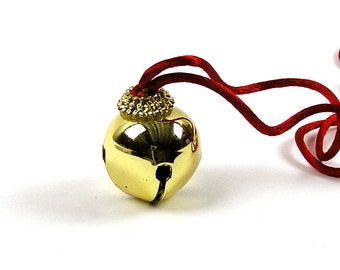 Vintage 1980s Brass Plated Jingle Bell