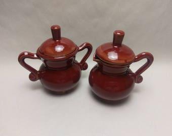 2 pc. CREAM & SUGAR Set - Deep Firebrick - Handmade Ceramic