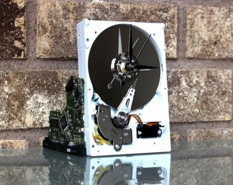 Upcycled White & Silver Hard Drive Clock and Circuit Board stand - Modern Desk Clock