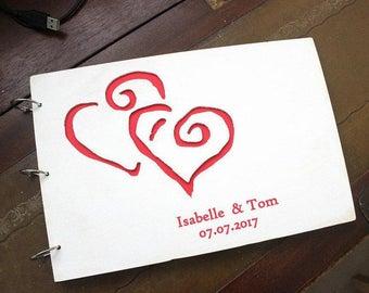 Photobook  made of wood wedding, personalized, shabby chic