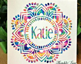 Mandala Flower Decal, Flower Decal, Decal for Yeti Cups, Decals for Tumblers, Personalized Name Decal, Personalized Initial Decal, Car Decal