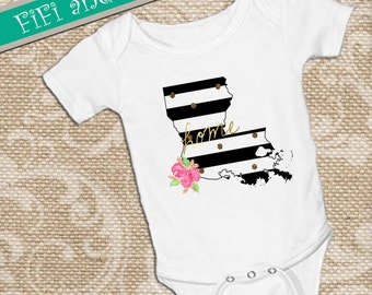 Louisiana home, Black & White Strip faux gold glitter dots, pink watercolor flower accent on White onsie Snap bottom all in one bodysuit