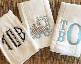 Set of monogram/appliquéd burp cloths