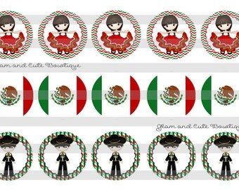 """Viva MEXICO Mexican kids Independecia INSTANT DOWNLOAD Bottle Cap Images 4x6 sheet 1"""" circles"""