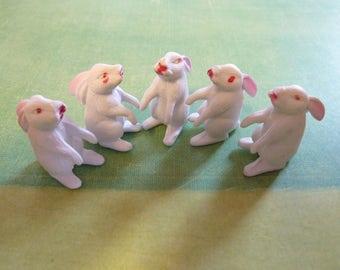 5 Miniature Easter Bunny Rabbit Plastic Micro Craft Terrarium Figure Animal Diorama Decor Vintage Supply (#458)