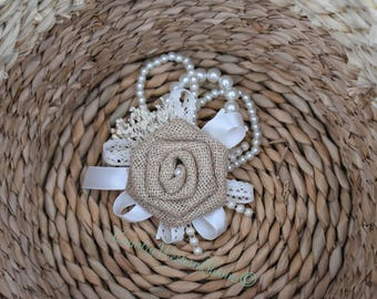 Rustic Wedding Corsage, Rustic Boutonniere, Burlap Boutonniere, Bridesmaid Corsage, Mother of the Bride Corsage, Mother of the Groom Corsage