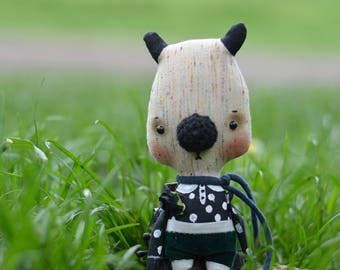 Plush bear softie doll - Stuffed bear -  woodland toy - Small animal - Kids toy - Art doll.