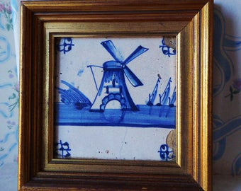 Antique 18th C blue and white framed Delft tile windmill and boats
