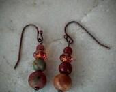 End of Year Sale Red creek jasper and Swarovski crystal earrings, handcrafted gemstone earrings in warm earth tones, boho chic beaded earrin