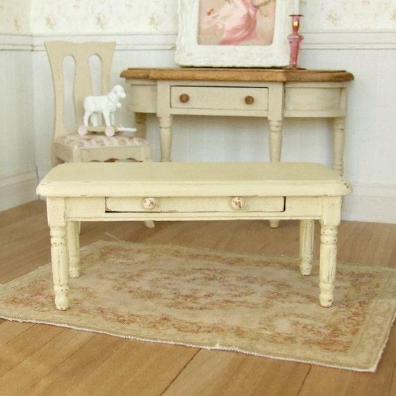 Dollhouse Miniature Cream Coffee Table Distressed Furniture