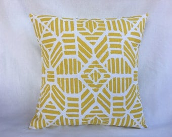 Yellow Pillow Covers 16x16 - Decorative 16x16 Throw Pillow Cover - Yellow Suzani Pillow Cover