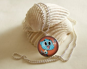 The Amazing World of Gumball / Round Silver pendant / 20mm image / Special for Manga lovers