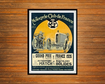 Reprint of a Vintage 1926 French Motorcycle Grand Prix Poster
