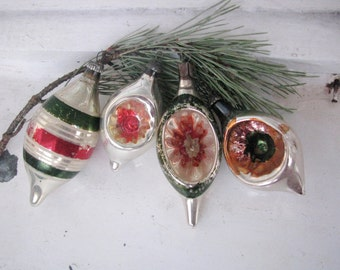 Set of 4 Vintage Soviet Christmas tree decoration,  Indent Silver Mercury Glass Ornament, Christmas decor, Retro Tree decoration, M