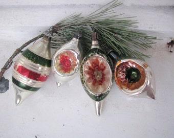 Set of 4 Vintage Soviet Christmas tree decoration,  Indent Silver Mercury Glass Ornament, Christmas decor, Retro Tree decoration, M