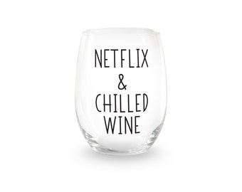 Netflix & Chilled Wine Stemless Wine Glass > Funny Gift > Funny Wine Glasses > Funny Wine Sayings > Wine Gifts > Offensive Gifts