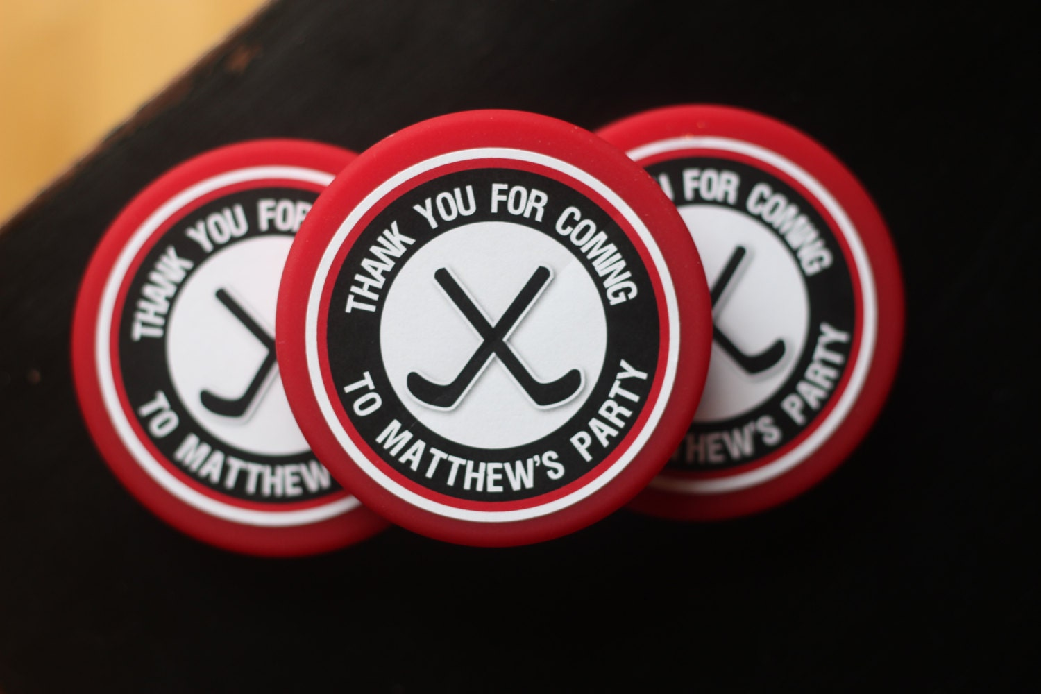 Boy /Hockey Puck Birthday Party Favor Stickers. Set of 18