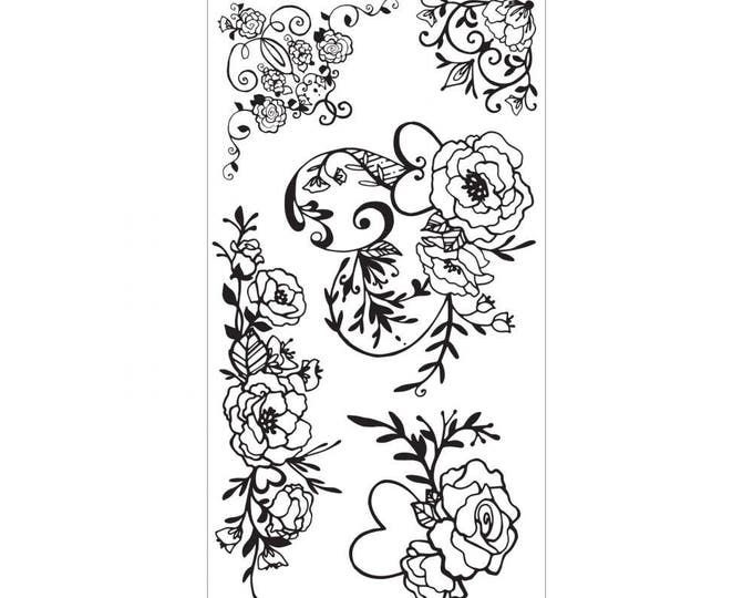 New! Sizzix Clear Stamps - Floral Embellishments by David Tutera
