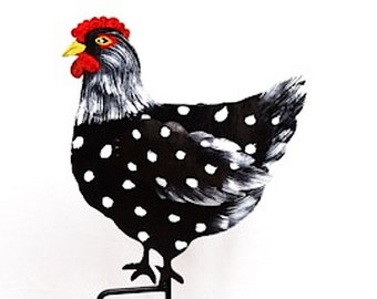 Metal Chicken BlackHand Painted Garden Stake FREE SHIPPING!