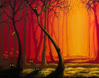 Cat Forest Fine Art Print Acrylics