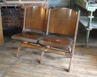 Antique 1920s Oak Theater Seats Great For Mud Rooms Entry Ways or Porch