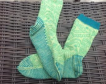 Knitted socks - green