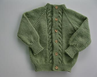 Hand Knitted Green  Aran Stitch Sweater Size 5 to 6 - Ready to Ship!!
