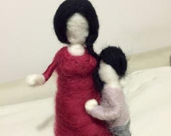 Mother and child, felt dolls, waldolf, mother, son