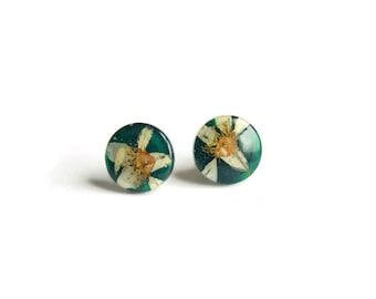 Dark green resin stud earrings with real white dried Bird Cherry  blossom Resin Jewelry Handmade stud earrings