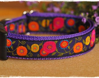 Flowers on Violet ribbon dog collars Medium to X-Large