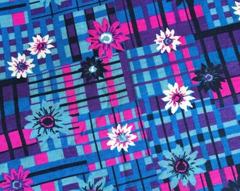 RESERVED for K Vintage Flower print blue and pink cotton knit fabric