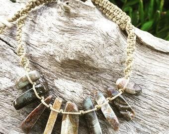 Handmade Hemp Macrame Crystal Necklace with Agate Semi Precious Stone Beads