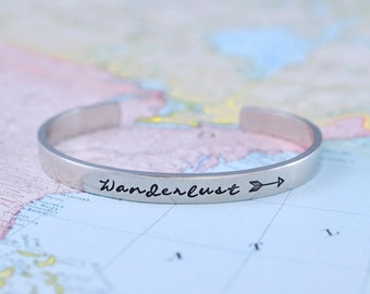 Wanderlust - Hand Stamped Aluminum Cuff Bracelet, Road Trip Traveler's  Bracelet, Travel, Wander, Adventure, Bohemian And Gypsy Jewelry