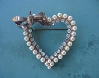 Faux Pearl and Rhinestone Heart Brooch