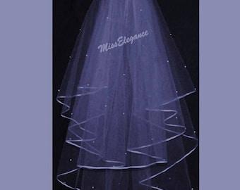 "Bridal Veil ,Wedding Veil, 2 tier ShoulderLength 15"" 20""  , Communion Veil,Hennight veil.PENCIL Edge with detachable comb & Loops."