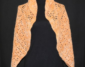Peach Shawl, Hand Spun, Hand Knit Alpaca and Wool