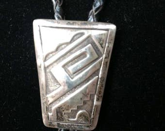 Vintage Native American Navajo Southwestern Artist Signed Ronnie Hurley Sterling Silver Bolo Tie