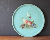 Reserved - Vintage Teal Blue Floral Toleware Round Tray, Vintage Tin Tray