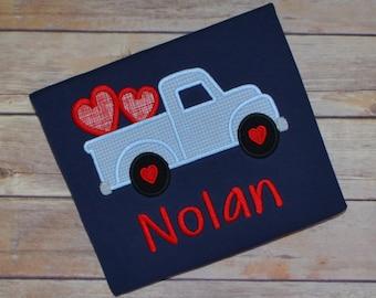 Boy Valentine truck shirt, Vday shirt, Valentines Day shirt, monogrammed heart shirt, truck heart shirt, kids Valentine outfit, toddler