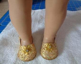 """Gold Sparkle Princess 18"""" Doll Sandals-Shown on my american girl doll"""