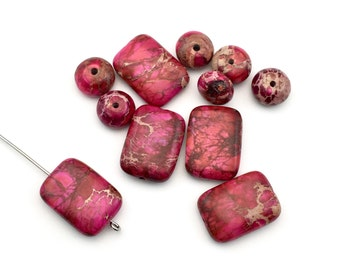 11 pink impression jasper stone beads mixed / 10mm and 13mm x 18mm  #PP151
