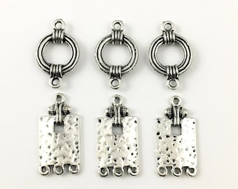 6 connectors antique silver,25mm / 30mm   #CON187