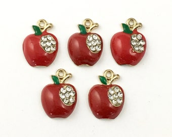 5 apple charms red enamel gold tone and strass 16mm #CH 186-1