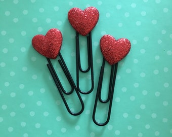 Heart shaped bookmarks // Heart shaped planner clips // heart clips // filofax clips // planner clips // bookmarks // planner accessories