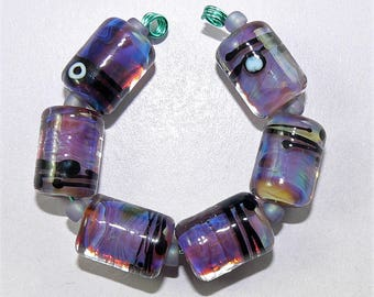 Handmade Lampwork Glass beads set of 6 barrel beads Dark Purple Silver Glass SRA