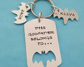 This Godfather belongs to unique hand stamped keyring great Fathers day or birthday gift